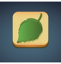 Green leaf on a wooden stand environmental icon vector image vector image