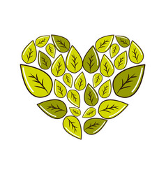 Green leaves with form of heart vector