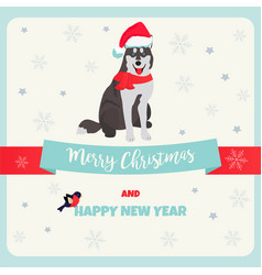 holiday greeting card with husky vector image vector image