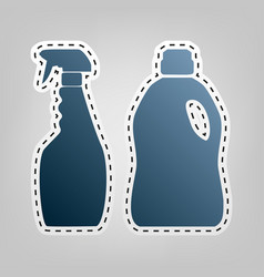 Household chemical bottles sign blue icon vector