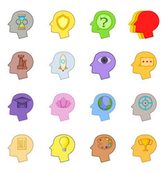 Human mind head icons set cartoon style vector