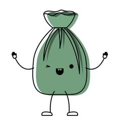 kawaii cartoon garbage bag tied in colorful vector image