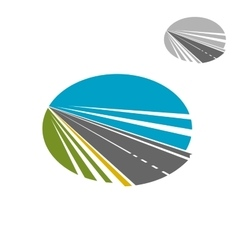 Long road or highway and blue sky icon vector