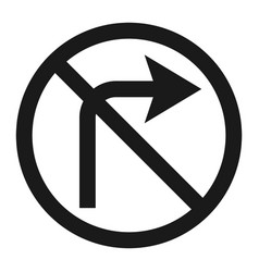 no right prohibition turn sign line icon vector image
