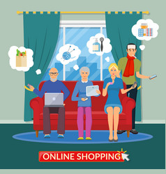 Online shopping flat composition vector