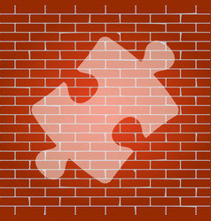 Puzzle piece sign whitish icon on brick vector