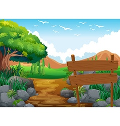 Scene with field and hills vector