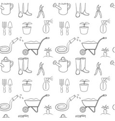 seamless pattern of gardening vector image vector image
