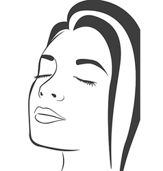 Silhouette lines of the womans face isolated on wh vector