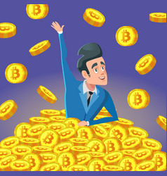 Successful businessman in pile of bitcoin coins vector