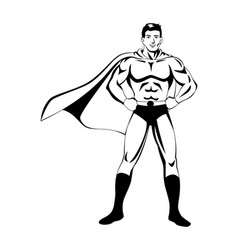 superhero in black and white vector image