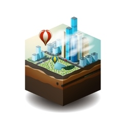 the cube The city with vector image