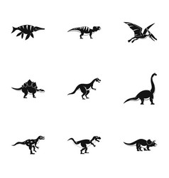 Types of dinosaur icons set simple style vector