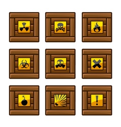Wooden crates with danger signs vector