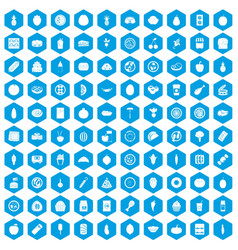 100 nutrition icons set blue vector image vector image