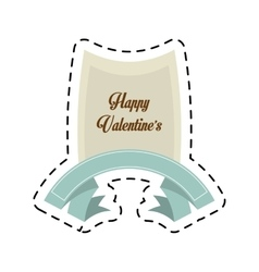 Happy valentines day card blue ribbon cut line vector