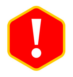 Red sexangle exclamation mark icon warning sign vector