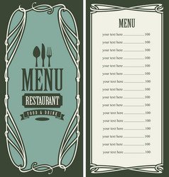 Menu for restaurant with price list and flatware vector
