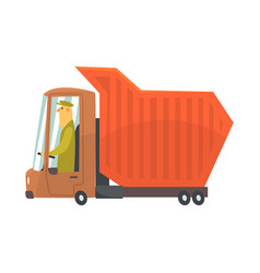 Orange heavy duty dump truck freight transport vector