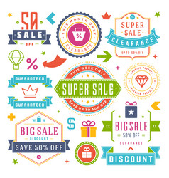 Sale labels and tags design vintage set vector