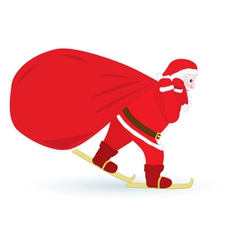 Santa skiing with sack vector image