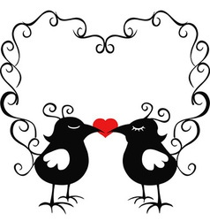 Ornamental loving birds vector