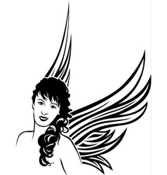 Girl angel tattoo stencil vector