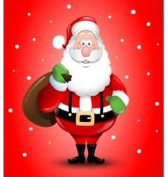 Smiling cartoon santa claus greeting vector