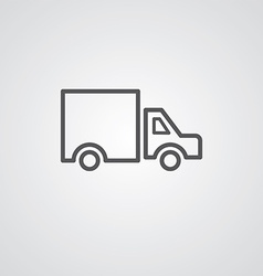 Truck outline symbol dark on white background logo vector