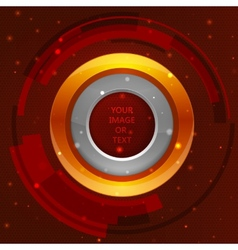 3D tech circle frame on a orange background vector image vector image