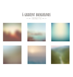 Collection of 6 vintage gradient backgrounds vector image