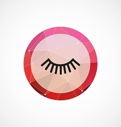 Eyelash circle pink triangle background icon vector