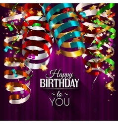 Birthday card with colorful curling ribbons vector image