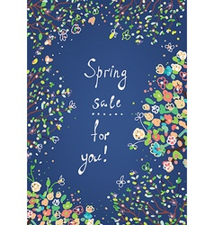 Spring sale banner or card with flowers vector