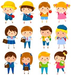 Cute school kids vector
