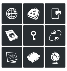 Couchsurfing icons set vector