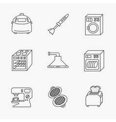 Dishwasher washing machine and blender icons vector