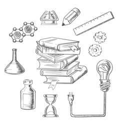 Knowledge and web education sketch icons vector