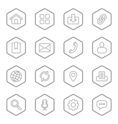 Gray line web icon set hexagon vector