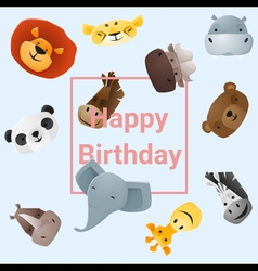 Cute happy birthday card with funny animals vector