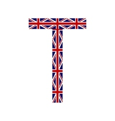 Letter t made from united kingdom flags vector