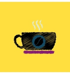 Flat icon design collection cup of hot vector