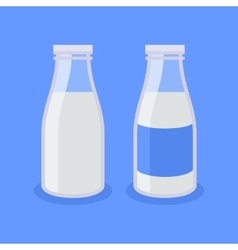 Flat style milk bottle icon on blue background vector