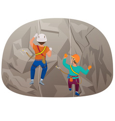 back view of two people climbing up to the cliff vector image