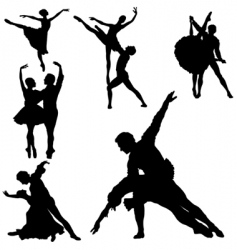 ballet silhouettes vector image vector image
