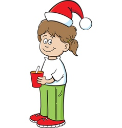 Cartoon Santa Hat Girl vector image vector image