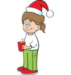Cartoon Santa Hat Girl vector image vector image