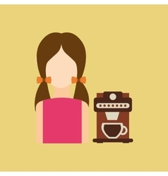 Character girl cup coffee espresso icon graphic vector