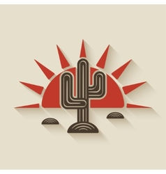 Desert cactus at sunset vector