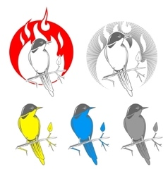 Engraving bird nightingale emblem vector image